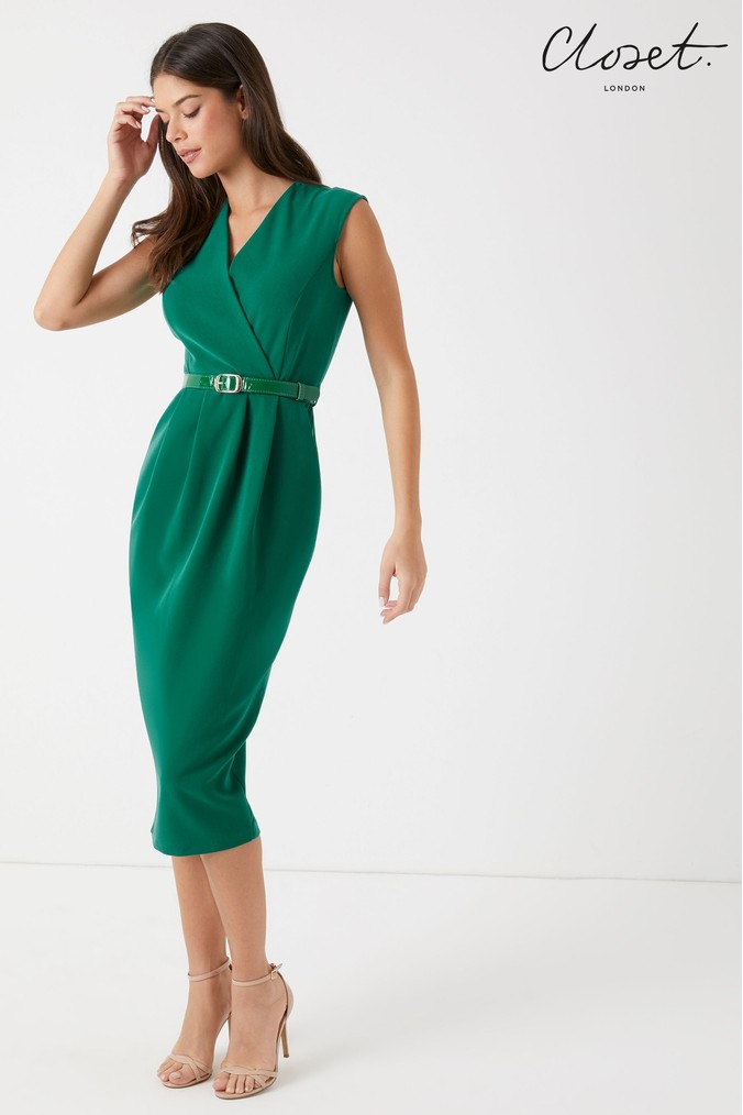 Womens Closet Princess Seam Wrap Dress -  Green