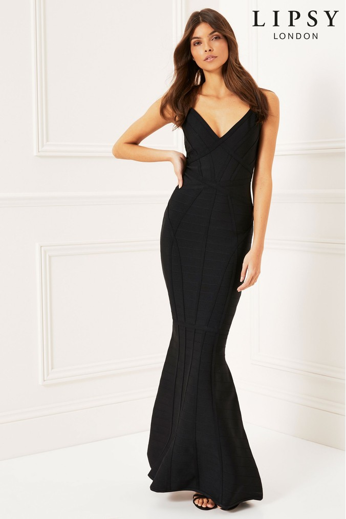 Lipsy Fishtail Maxi Dress - 6 - Black