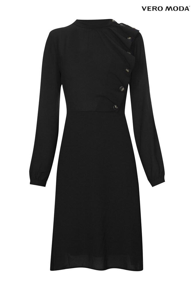 womens vero moda petite long sleeve ruffle dress -  black