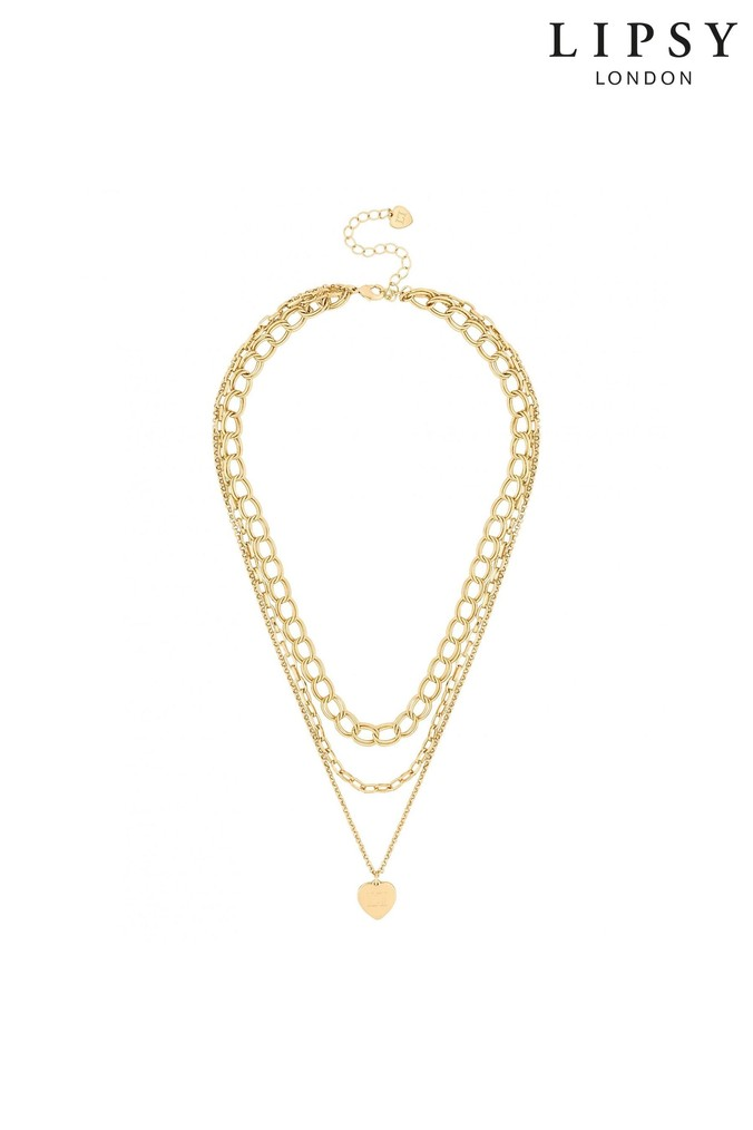 Lipsy Multirow Chain And Heart Pendant Necklace - One Size - Gold