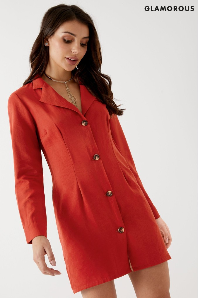 Womens Glamorous Blazer Dress -  Red