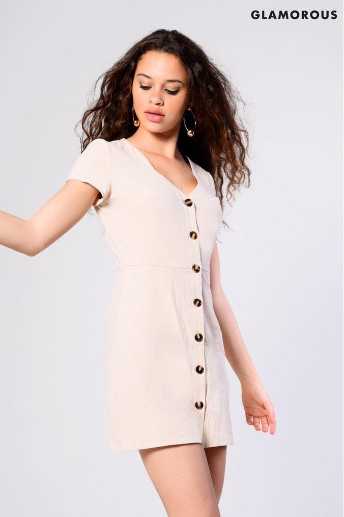 Womens Glamorous Mini Dress -  Nude