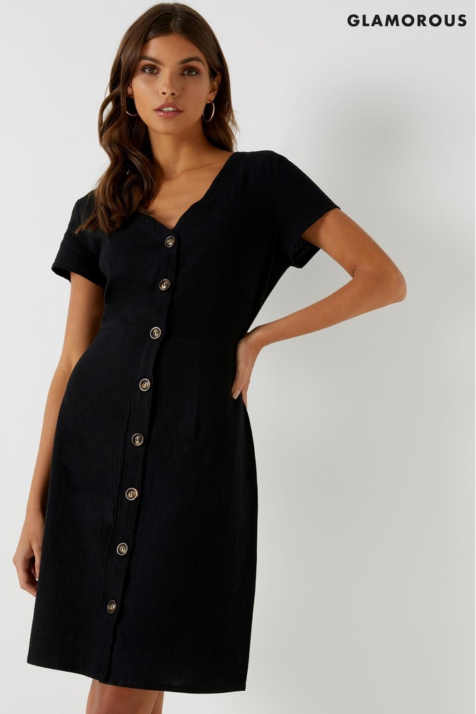 Womens Glamorous Mini Dress -  Black