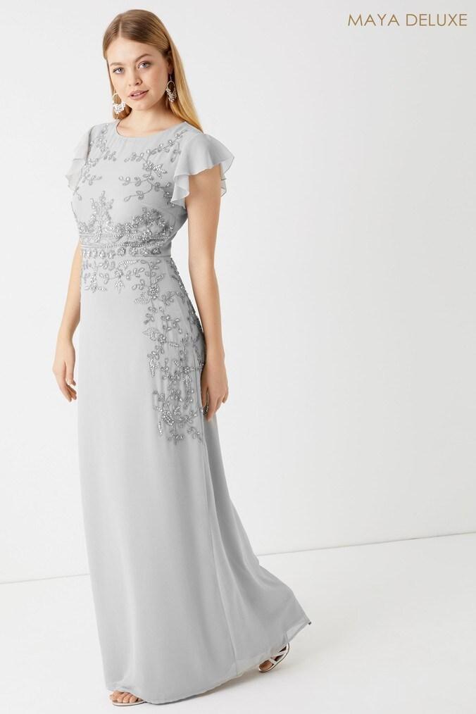 Womens Maya Placement Embellished Maxi Dress -  Grey