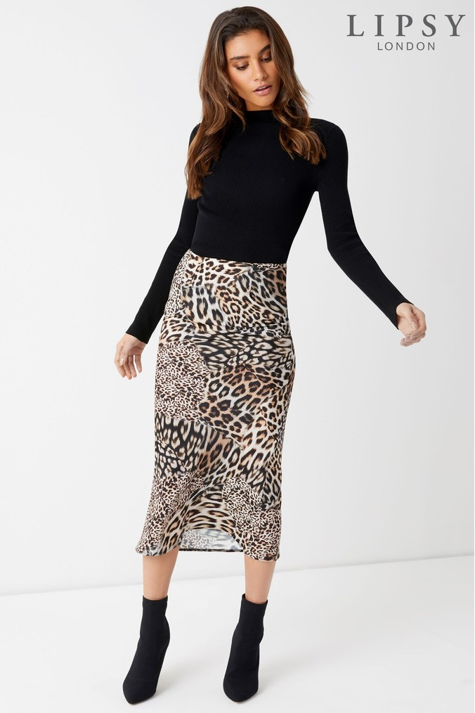 lipsy mixed animal print skirt - 18 - brown 125c134fe