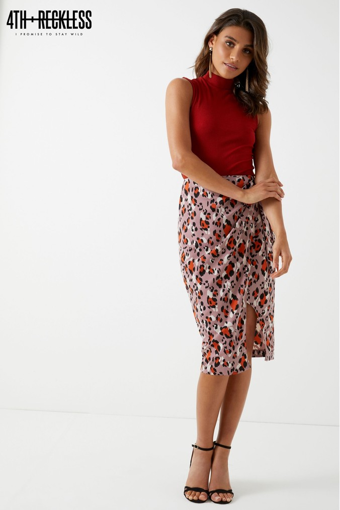 Womens 4th & Reckless Tie Side Leopard Print Midi Skirt -  Purple