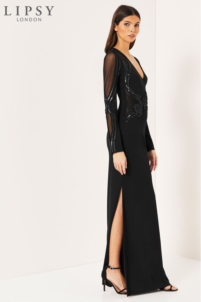 Lipsy Cornelli Matte Sequin Long Sleeve Maxi Dress - 6 - Black