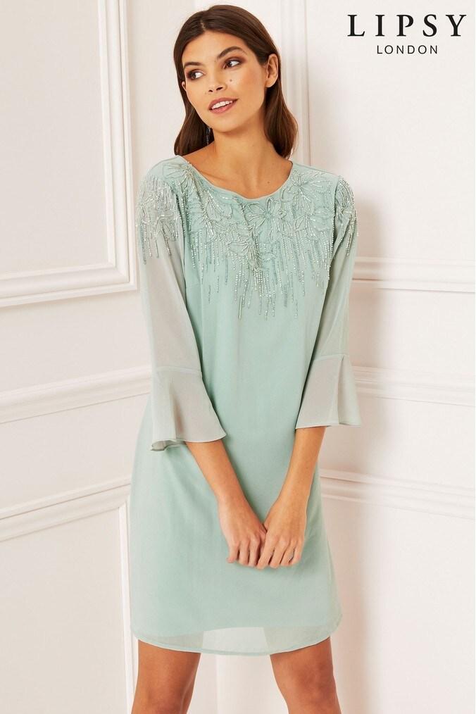 Lipsy Embellished Shift Dress - 6 - Green