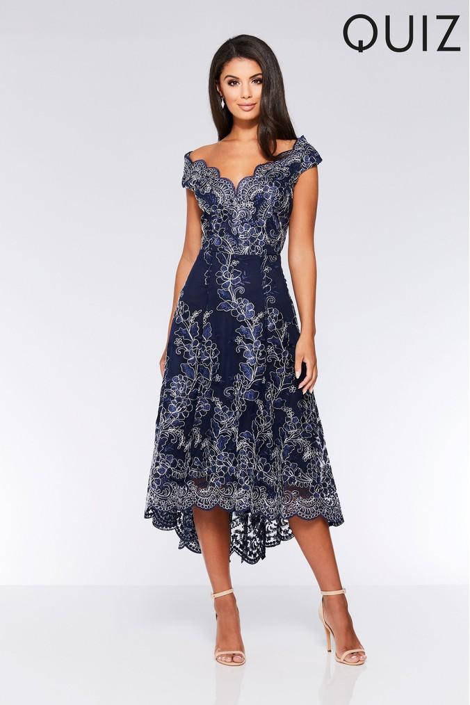 Womens Quiz Scallop Lace Dip Hem Dress -  Blue