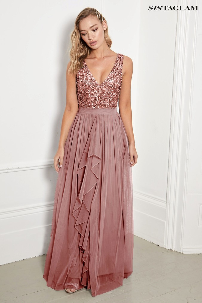 Womens Sistaglam V neck Maxi Dress With Sequined Top -  Gold