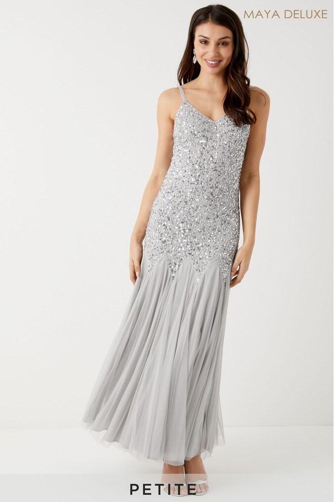 Womens Maya Petite Embellished Cami Fishtail Godets Maxi Dress -  Grey