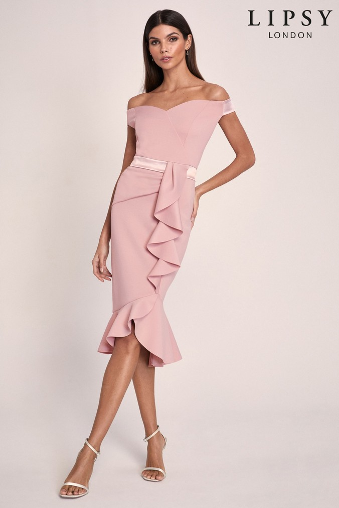 Lipsy Ruffle Bardot Satin Panel Bodycon - 6 - Nude