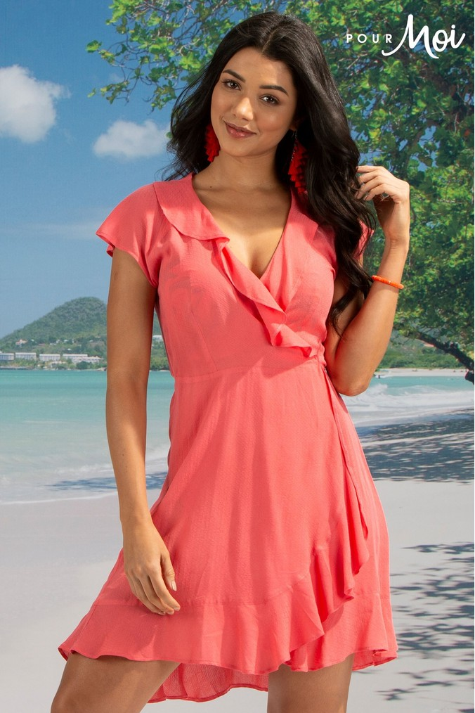 Womens Pour Moi Santa Monica Wrap Dress -  Pink