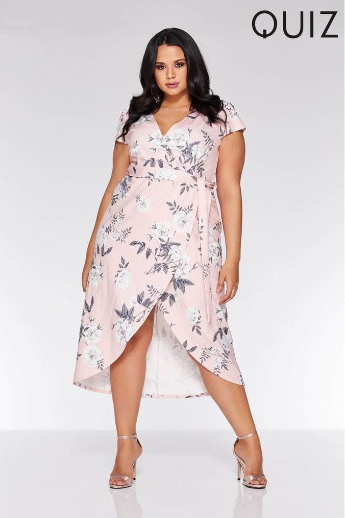 womens quiz curve floral print cap sleeve wrap midi dress -  pink