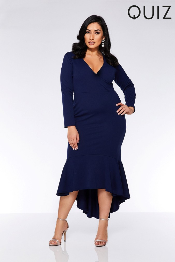 Womens Quiz Curve Wrap Front Fishtail Midi Dress -  Blue