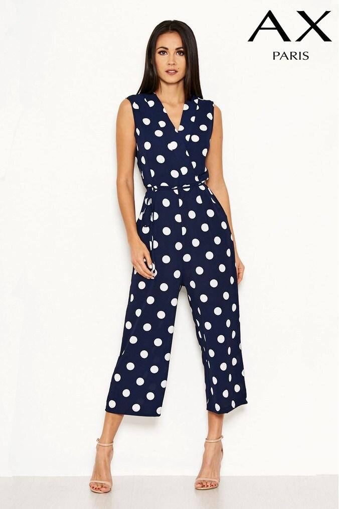 Womens AX Paris Polka Dot Jumpsuit -  Blue