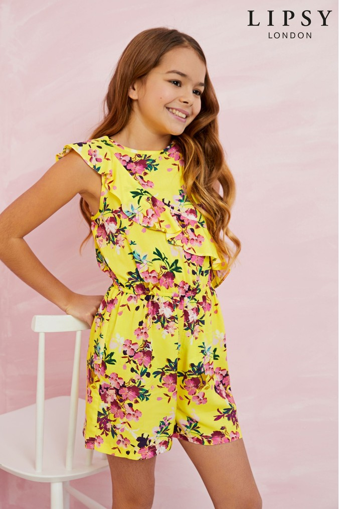 c48f3f79a8f8 lipsy girl floral frill playsuit - yellow