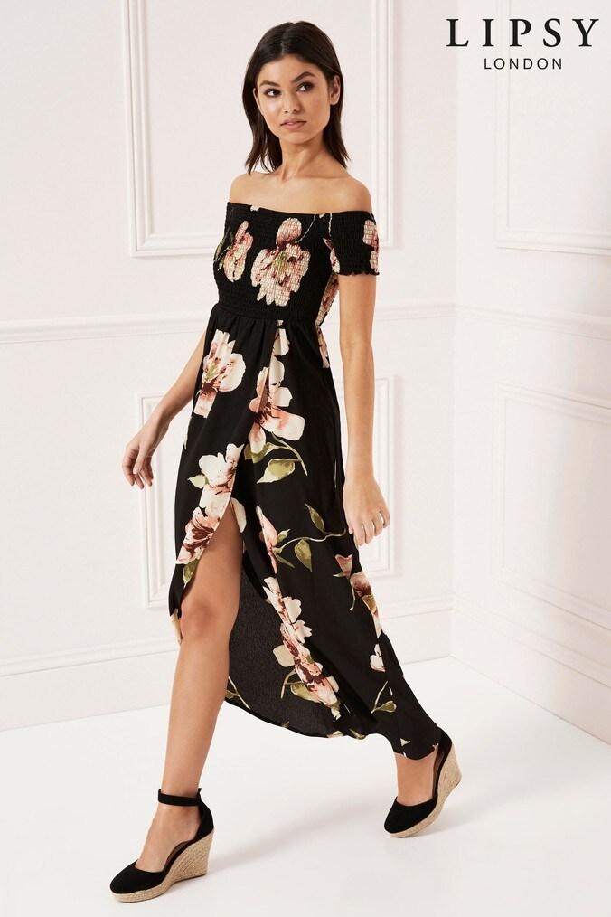 Lipsy Floral Shirred Bardot Maxi Dress - 6 - Black