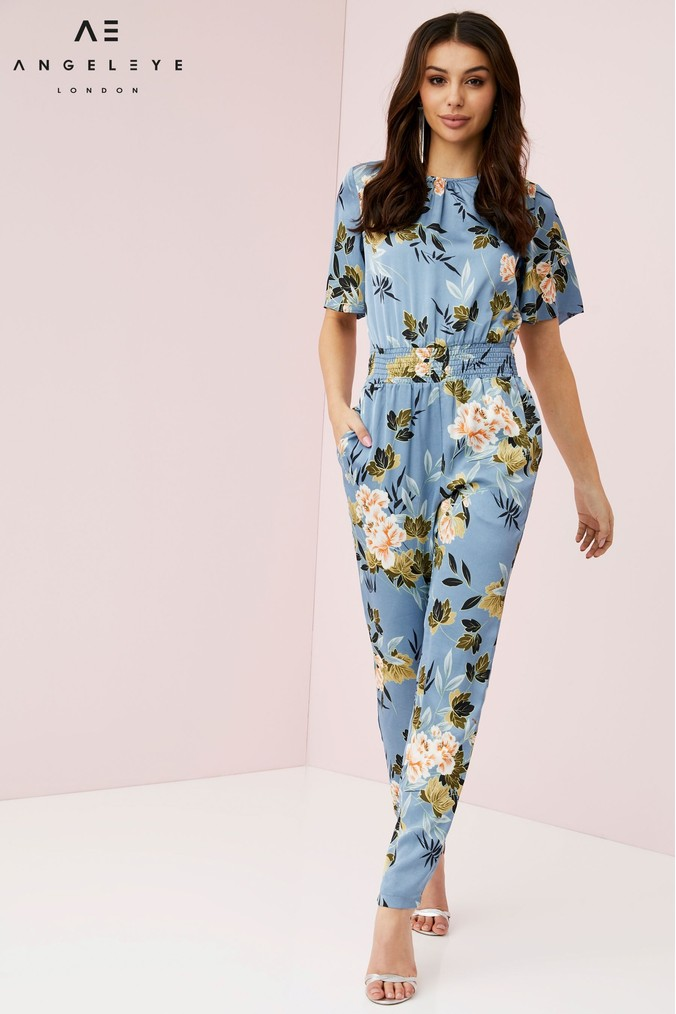 6ac0b0f3d57 Womens Angeleye Floral Print Shirred Waist Jumpsuit - Blue