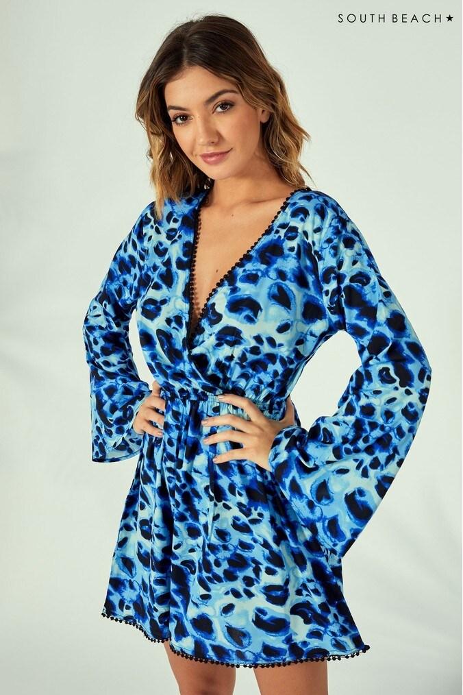 Womens South Beach Leopard Wrap Beach Dress -  Blue
