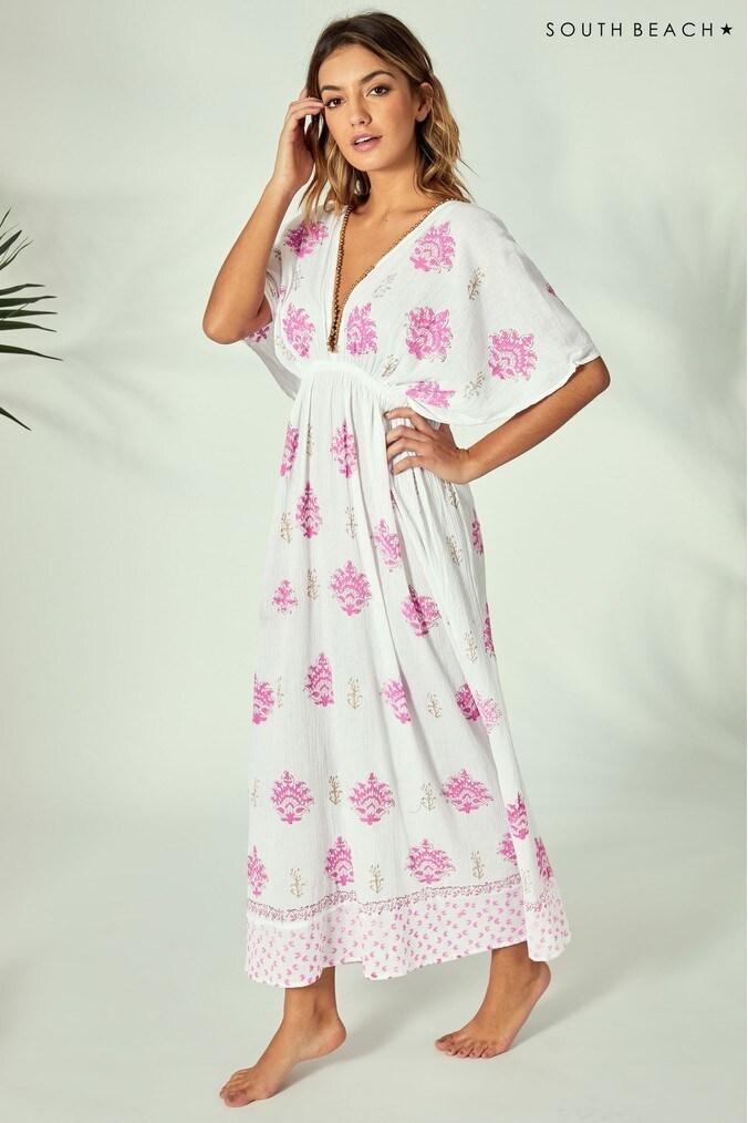Womens South Beach Printed Flare Sleeve Maxi Dress -  White