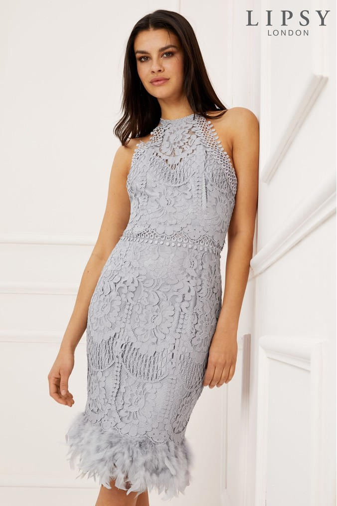 Lipsy VIP Lace Feather Hem Dress - 8 - Silver