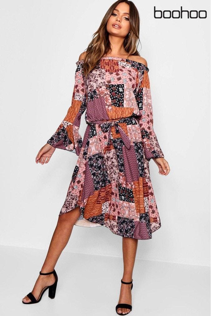 Womens Boohoo Bardot Bohemian Print Midi Dress -  Pink