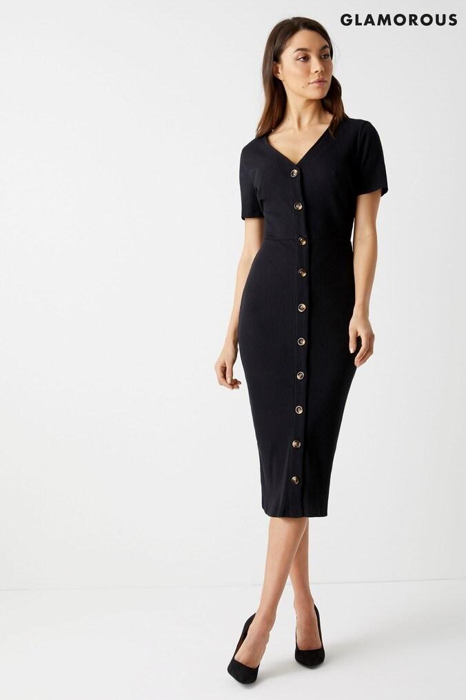 Womens Glamorous Midi Dress -  Black