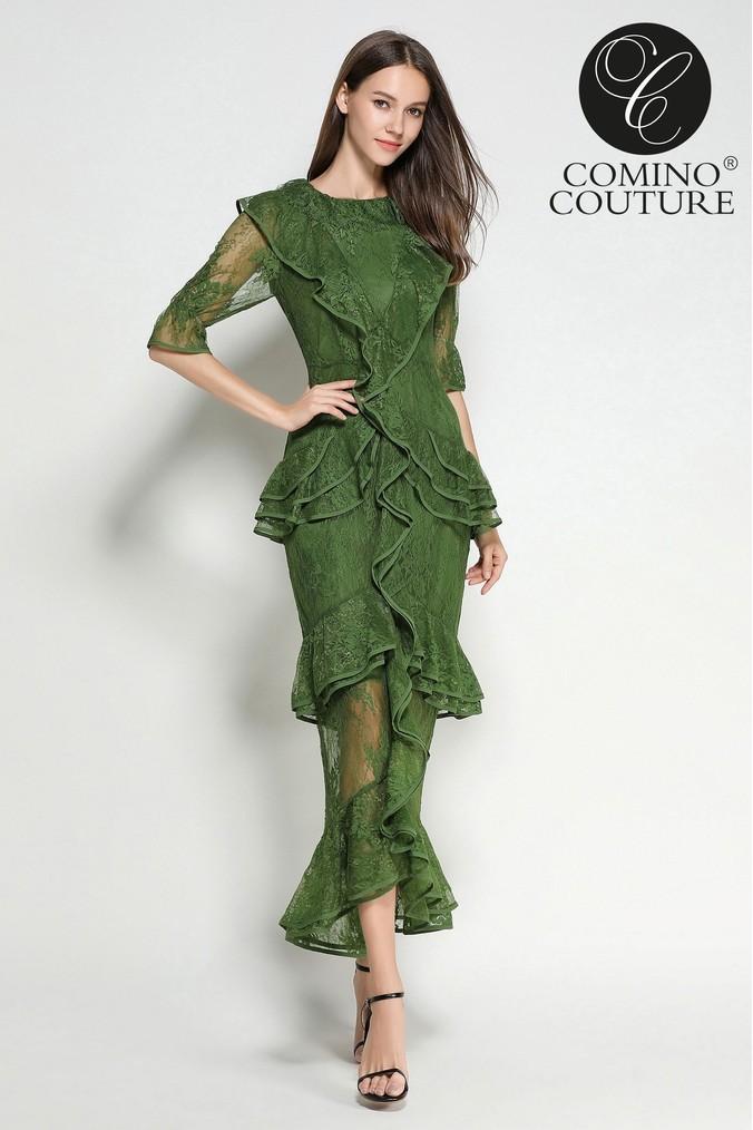 Womens Comino Couture Emerald Lace Ruffle Dress -  Green
