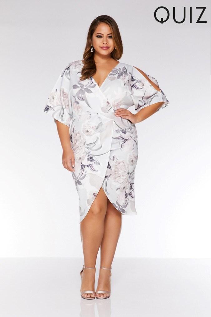 womens quiz curve wrap front floral dress -  grey