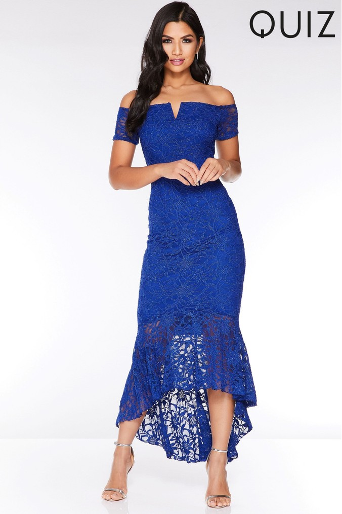 Womens Quiz Lace Dip Hem Maxi Dress -  Blue