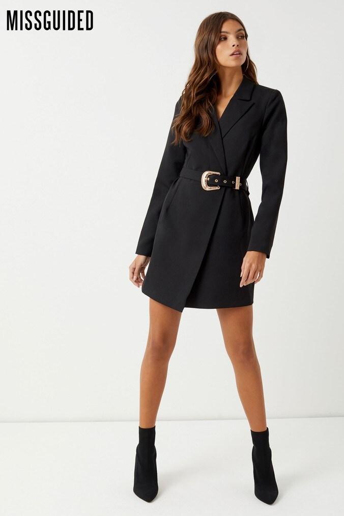 Womens Missguided Belted Blazer Dress -  Black
