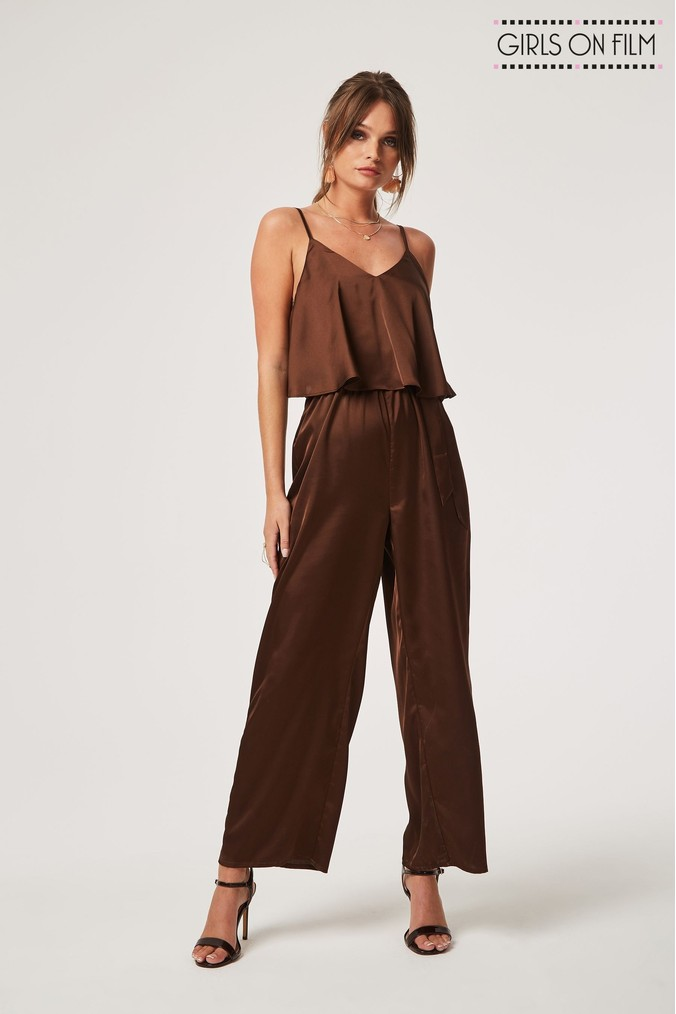 Womens Girls On Film Strappy Satin Wide Leg Jumpsuit -  Brown