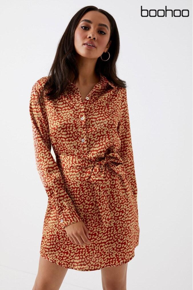 womens boohoo petite animal print shirt dress -  brown