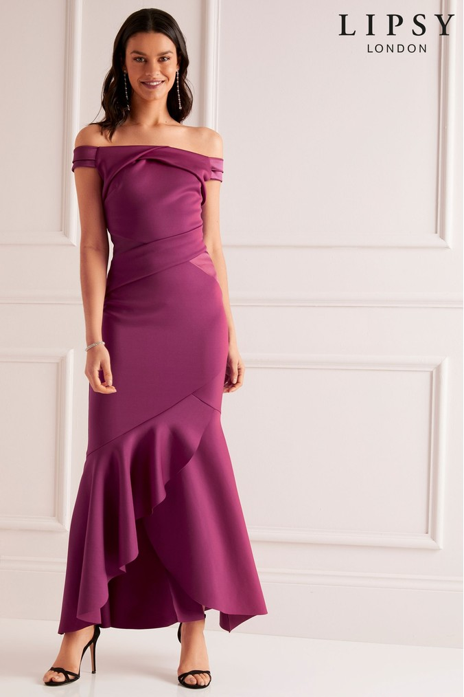 Lipsy Petite Bardot Satin Panel Dress - 6 - Purple