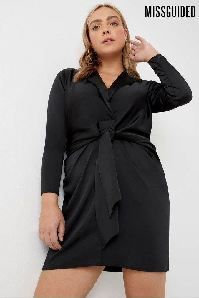 womens missguided curve satin collared tie front mini dress -  black
