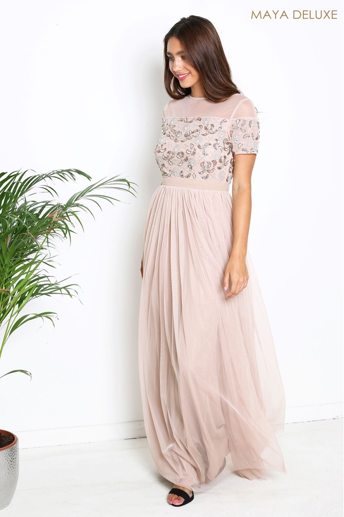 Womens Maya Embroidered Maxi Dress -  Pink