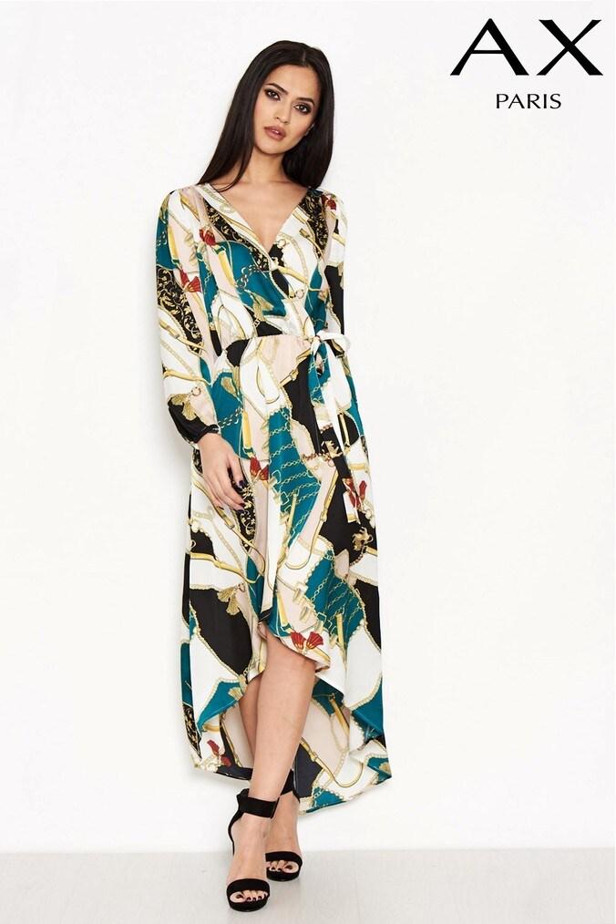Womens AX Paris Printed Dip Hem Dress -  Green