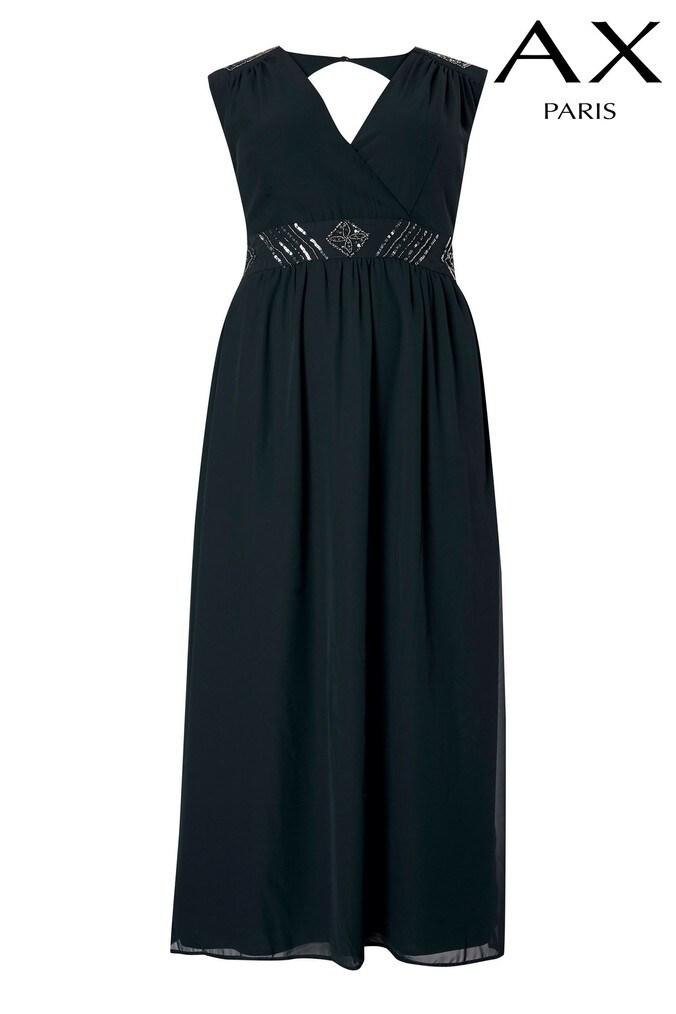 womens ax paris curve embellished maxi dress -  blue