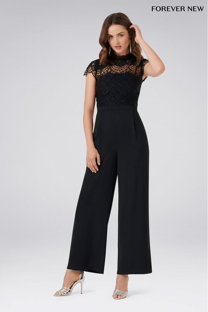 Womens Forever New Petite Wide Leg Jumpsuit -  Black
