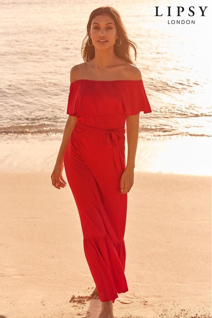 Lipsy Bardot Maxi Dress - 6 - Red