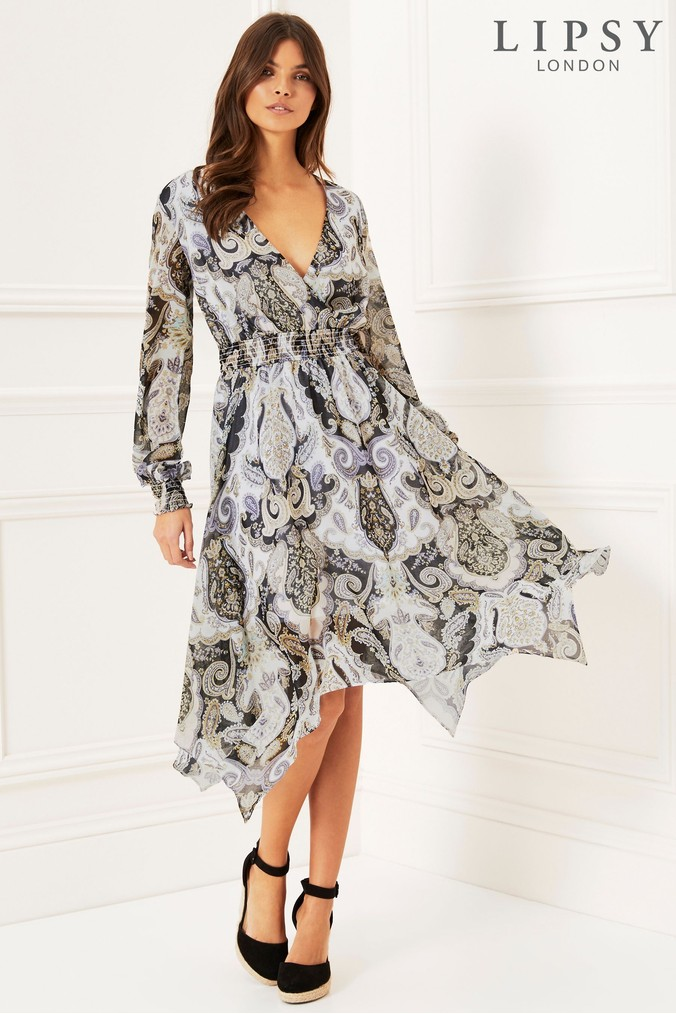 Lipsy Paisley Hanky Hem Dress - 6 - White
