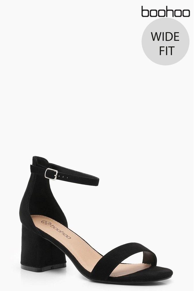 6a8346ab386 Womens Boohoo Wide Fit Suedette Block Heels - Black - Next at Westquay -  Shop Online
