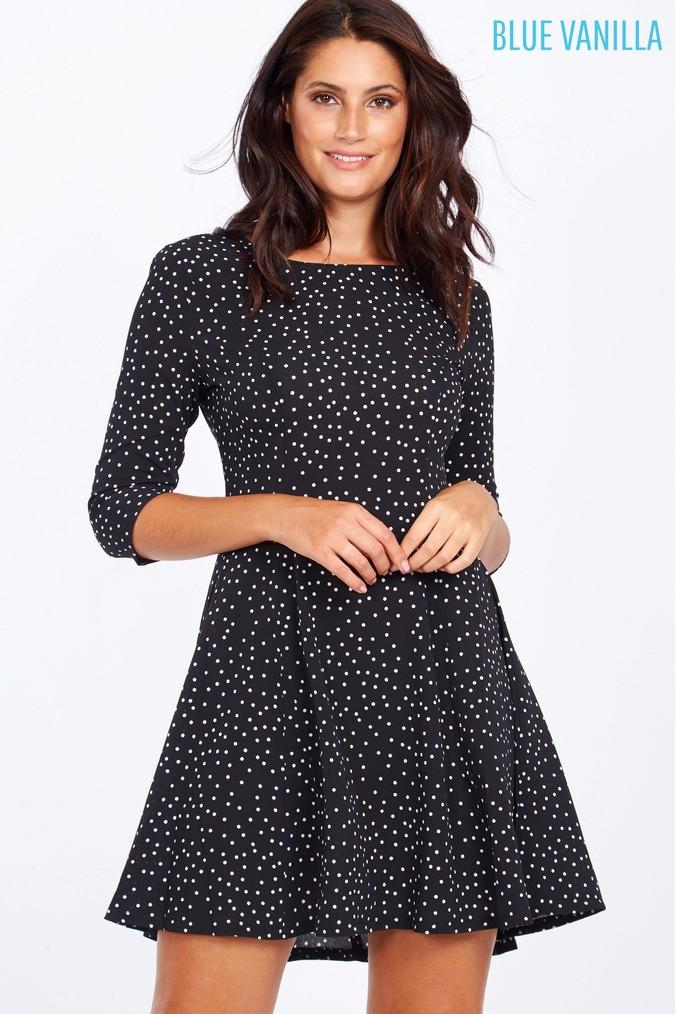 Womens Blue Vanilla Polka Dot Dress -  Black