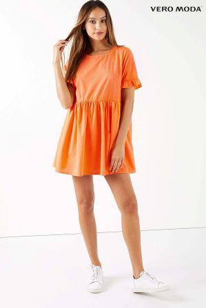 womens vero moda petite dress -  orange