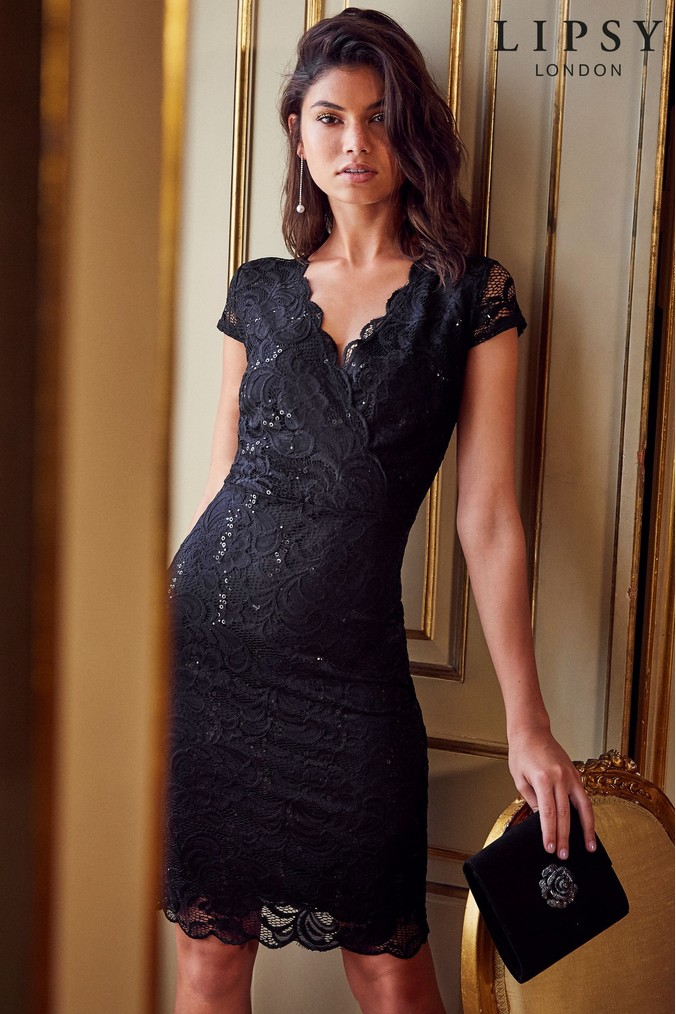 4b3ec393bb4b Lipsy Sequin Lace V neck Bodycon Dress - 18 - Black