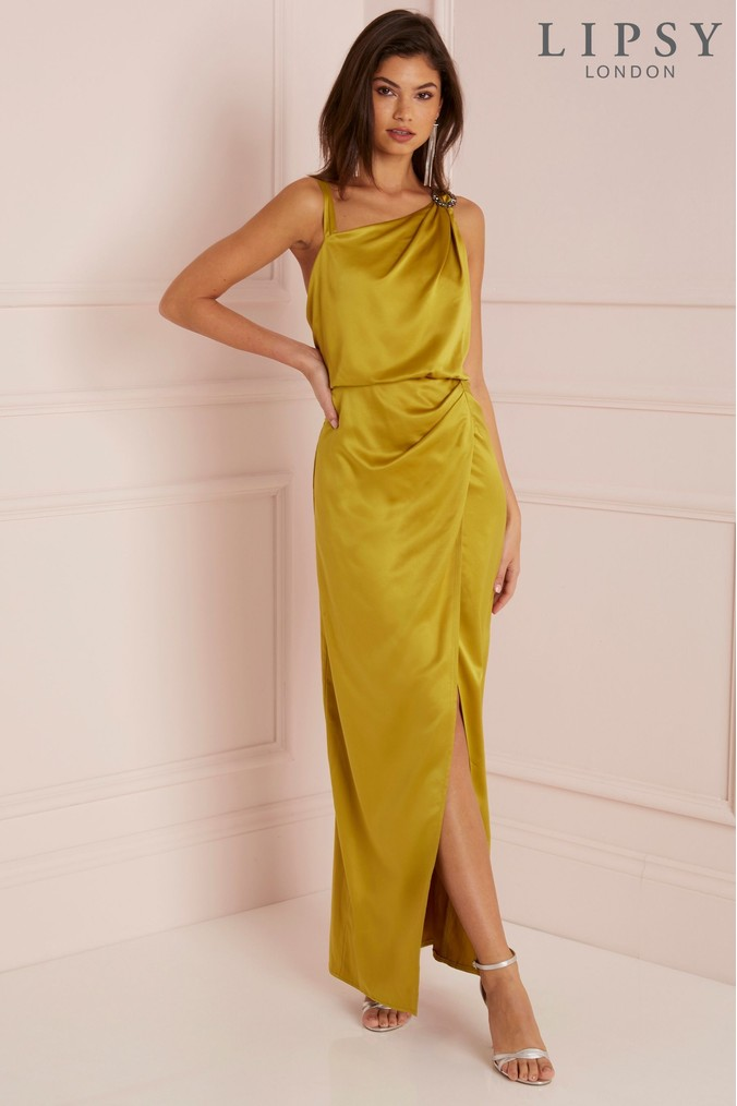 Lipsy Satin Assymetric Neck Maxi Dress - 6 - Yellow