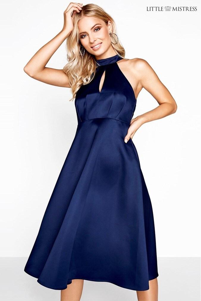Womens Little Mistress Halter Neck Skater Dress -  Blue