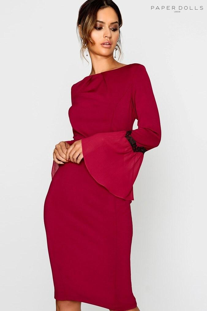 57effcca8747 Womens Paperdolls Flute Sleeve Dress - Red