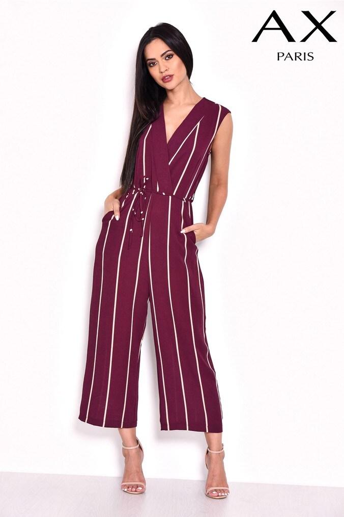 545485b0464 Womens AX Paris Stripe Wrap Culotte Jumpsuit - Red
